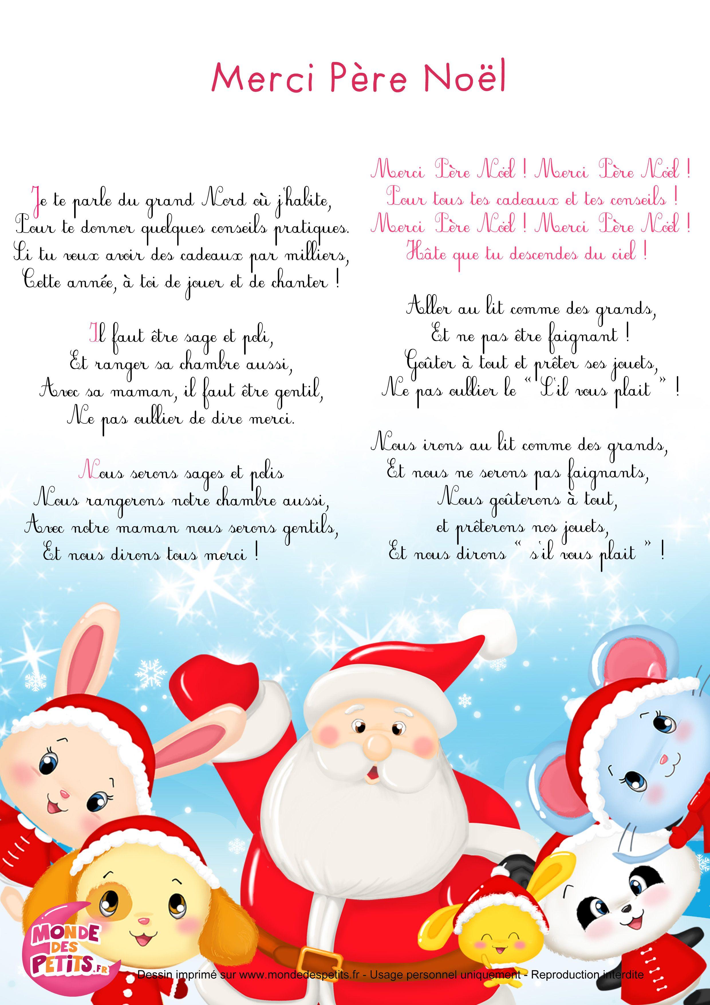 Merci Père Noël | Chanson de noel, Comptines de noel, Chanson enfantine