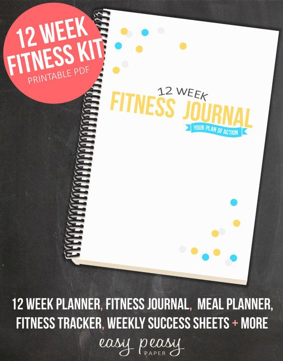 12 Week Fitness Planner PRINTABLE Health and Fitness Journal