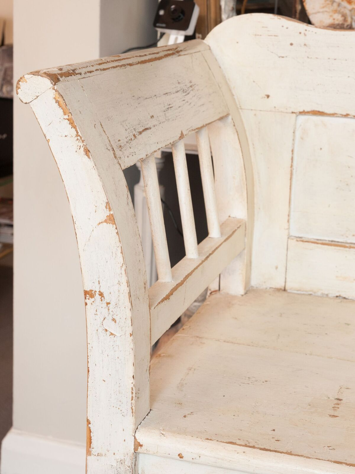 Antique Hungarian Pine Bench Settle, painted in cream