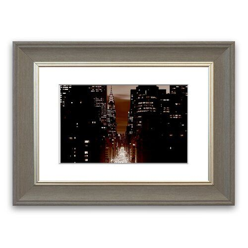 Photo of Gerahmter Fotodruck New York City – 5th Avenue in Braun East Urban Home Größe: 30 cm x 40 cm, Rahmenart: Grau