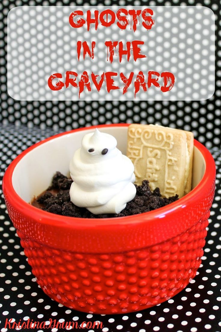 Ghosts in graveyard halloween food for party fun
