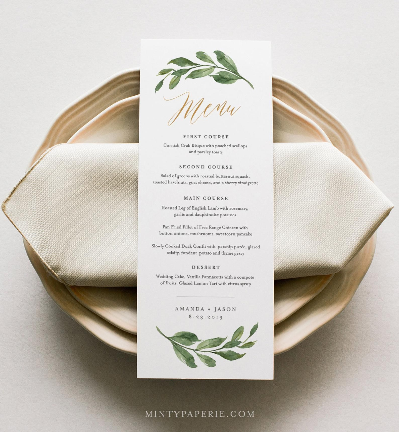 Wedding Menu Template Greenery And Gold Wedding Menu Card Printable Diy Menu Instant Download Editable Text 5x7 3 65x9 067 132wm Menu Card Template Wedding Menu Template Diy Menu