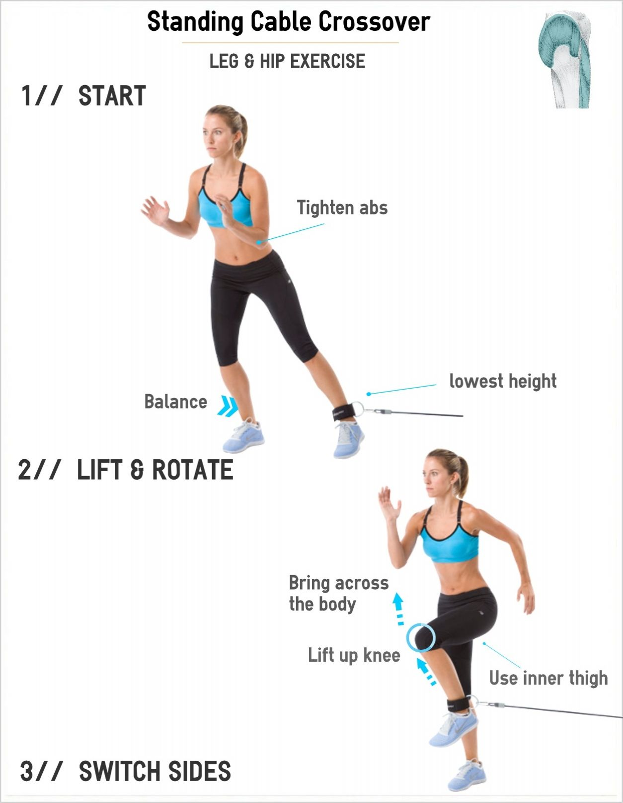Exercise for Inner Thighs (Adductors), Cable Hip Crossover ...