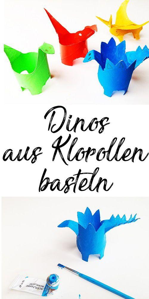 Basteln mit Kindern: Dinos aus Klorollen — Mama Kreativ