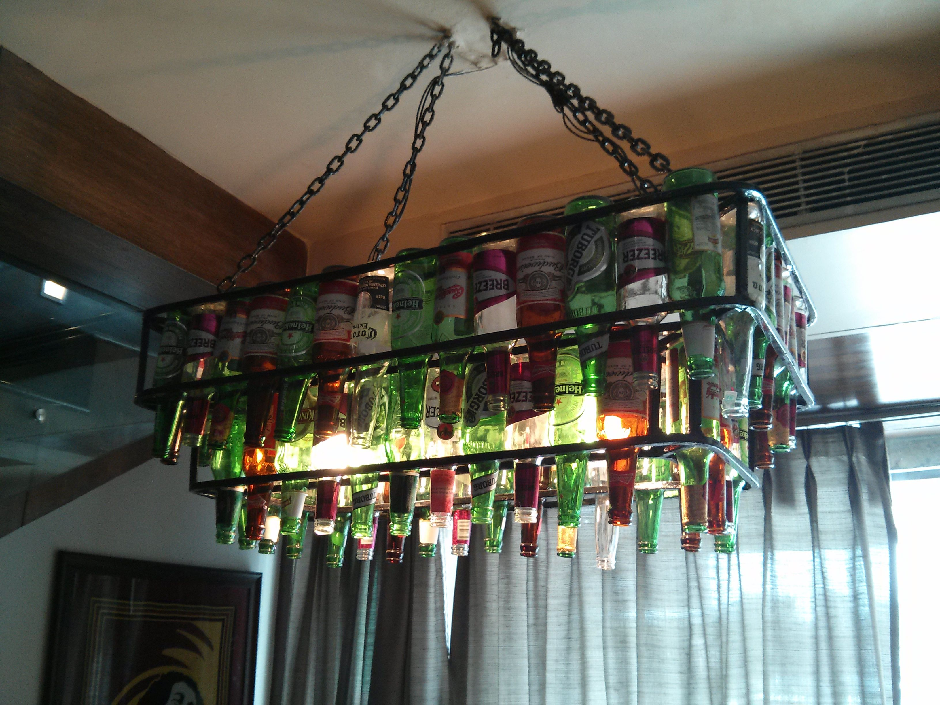 Beer bottle chandelier xiiandelhi b quirky interiors beer bottle chandelier xiiandelhi arubaitofo Images