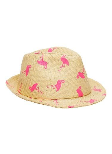 Girls flamingo print straw fedora. One size fits all 54cm. Paper straw. 110fe6d0b8c7