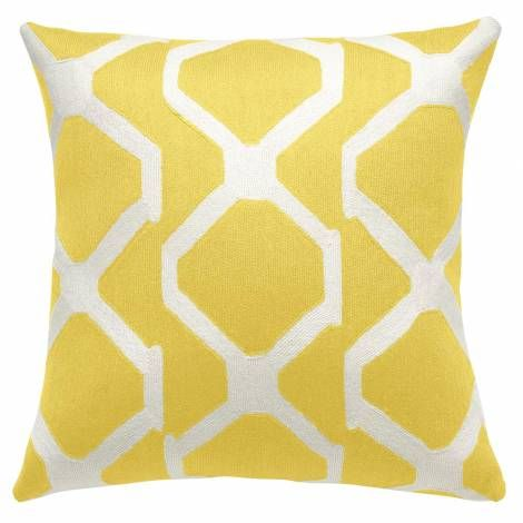 Judy Ross Textiles Hand-Embroidered Chain Stitch Arbor Throw Pillow yellow/cream