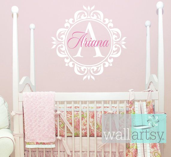 Name And Initial Vinyl Wall Decal Shabby Chic Damask Border Personalized Monogram Wa Etiquetas De Pared De Vinilo Decoraciones De Guarderia Decoracion Infantil