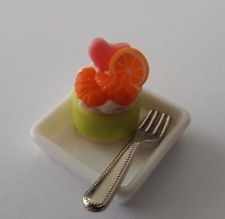 1 set Dollhouse Miniatures Kitchen Food Art  Supply Handcrafted Cake with Fork B