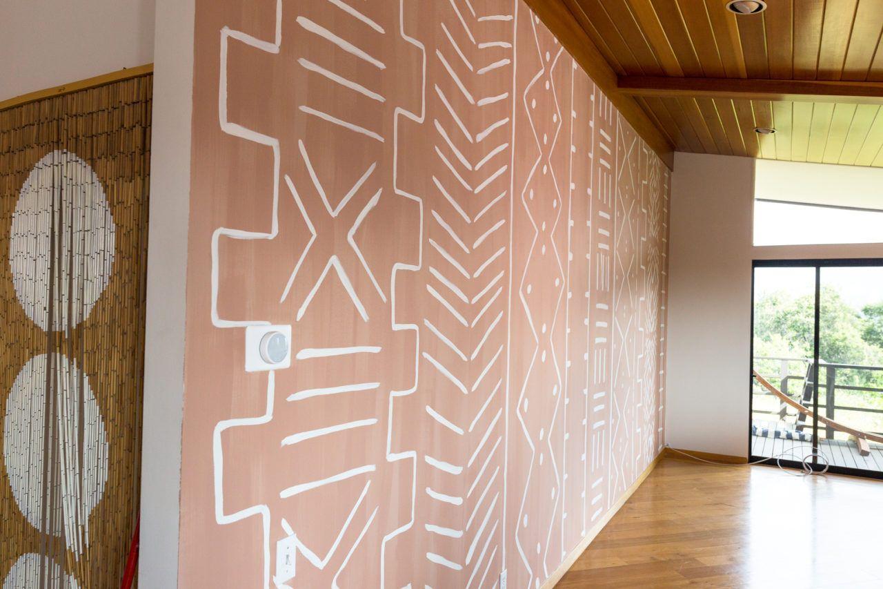 Diy Mud Cloth Statement Wall Modern Wall Paint Wall Murals Diy Statement Wall #statement #wall #living #room