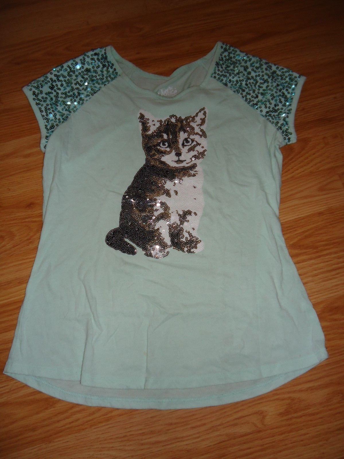 Justice Cat Shirt Sequins 16 Girls T shirt light green  CUTE
