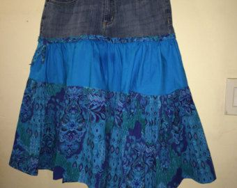 RESERVED - Special Order for Maureen, Jean Topped Peasant Skirt, Blue, Purple Paisley, Size 8 -  Etsy