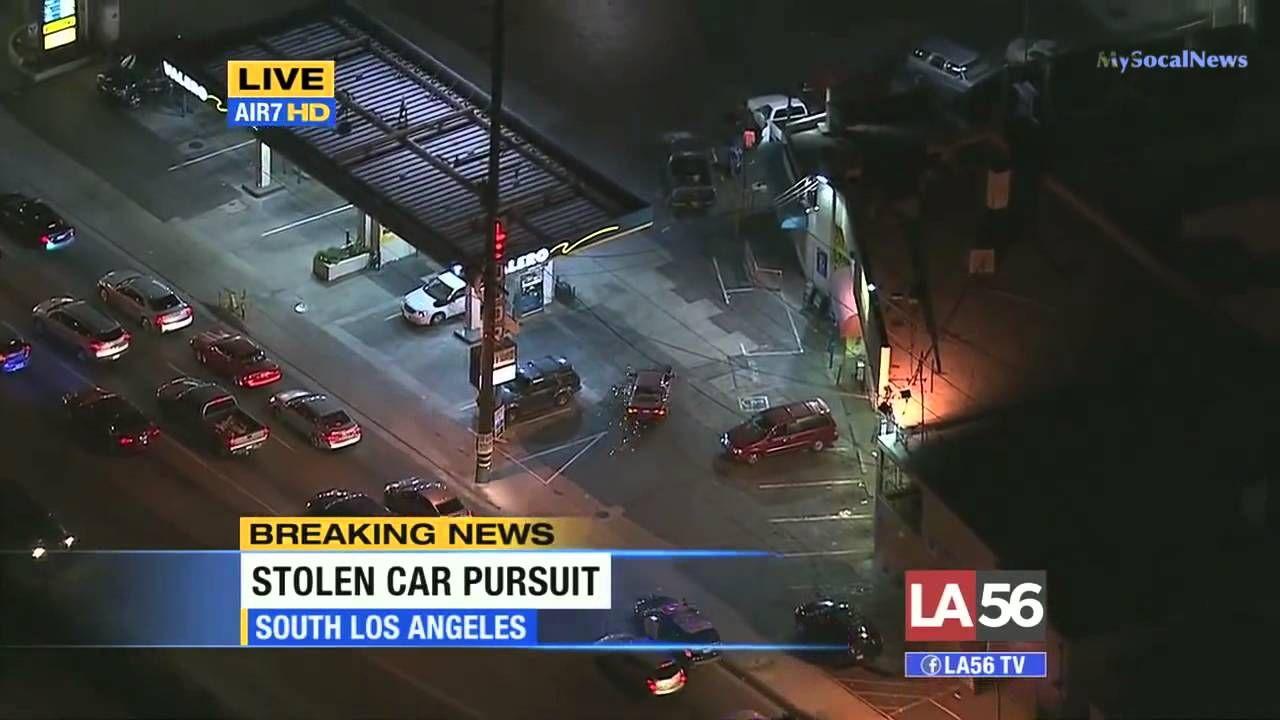 California High Speed Police Chase Stolen Car Through South Los