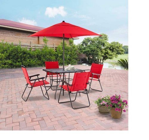 Mainstays Albany Lane Patio Dining Set Red Dining Set Table 4 Chairs  Kitchen #Mainstays