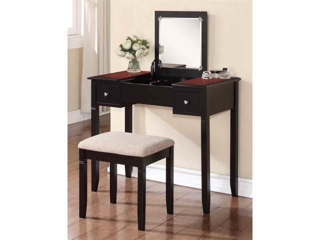 Camden Bedroom Vanity Set - 64023BLKCHY-01-KD-U   t - Bedroom Vanity Table
