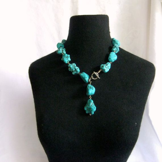 Turquoise Howlite Super Chunky Satement Necklace by MersFolly, $47.00