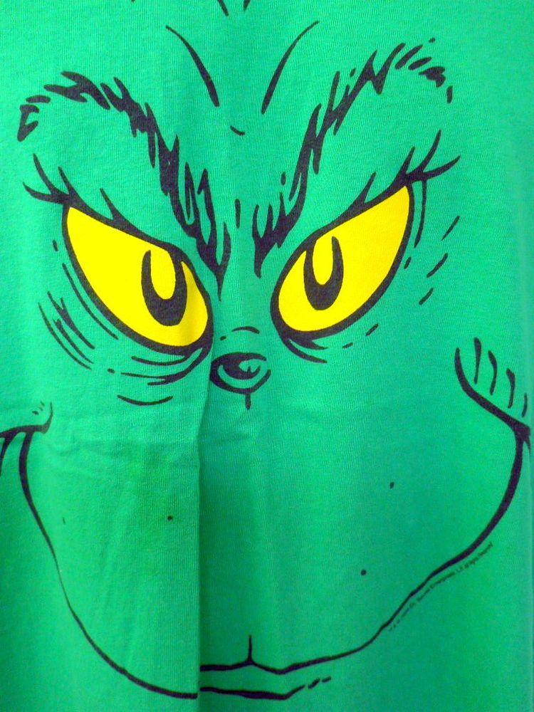 Grinch Green Tee Shirt Large Dr Seuss Grinning Yellow