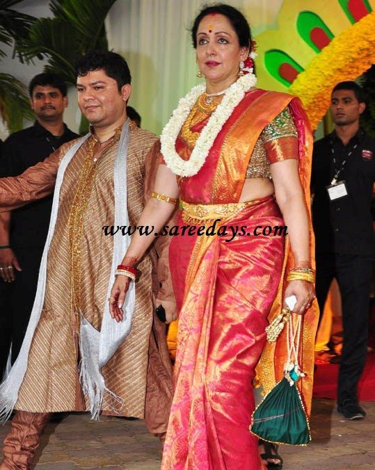 72d4b45c7d7 Latest Saree Designs  Hema malini in kanchipuram saree at esha deol wedd.