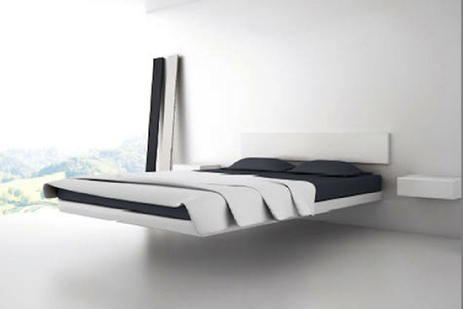 Bedroom modern designs floating bed platform unique and for Contemporary bed designs