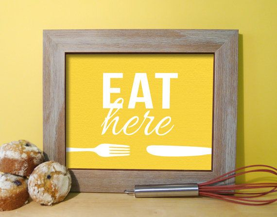 Kitchen Sign / Art Print Typography Fork & by DaphneGraphics, $16.00 ...