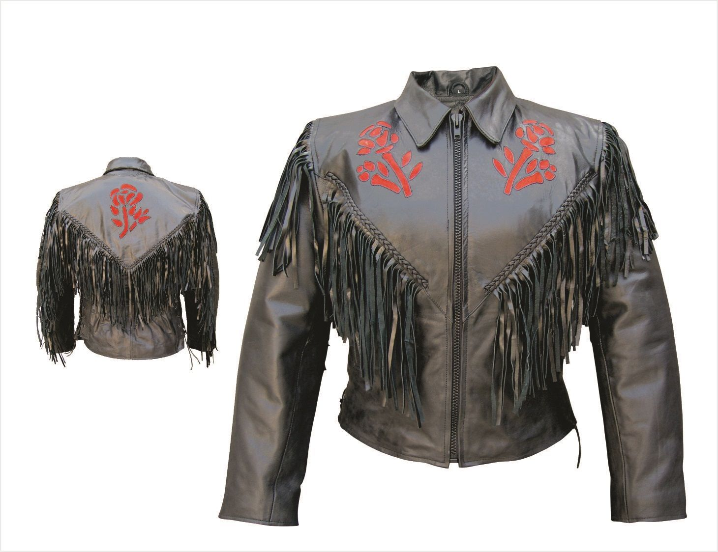 Leather jacket with roses - Womens Red Rose Leather Motorcycle Jacket With Fringe Braid Side Laces By Allstate Leather