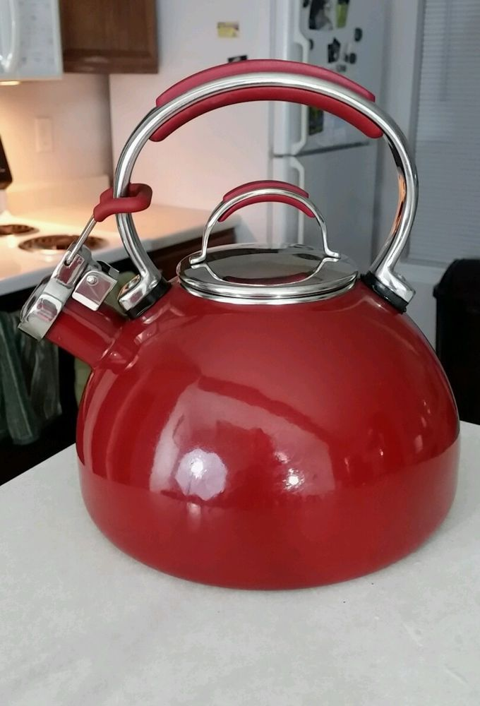 Kitchenaid 2 Qt Whistling Stovetop Tea Kettle Euc Maroon Light Scuffs On Bottom
