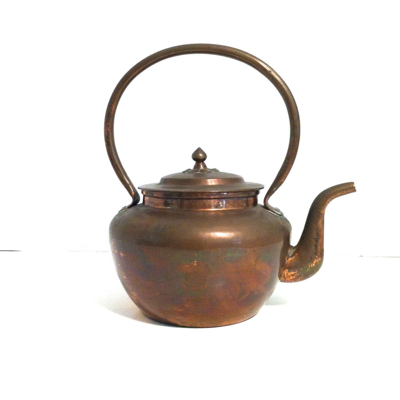 vintage tea kettle copper rustic tea kettle mid century small copper