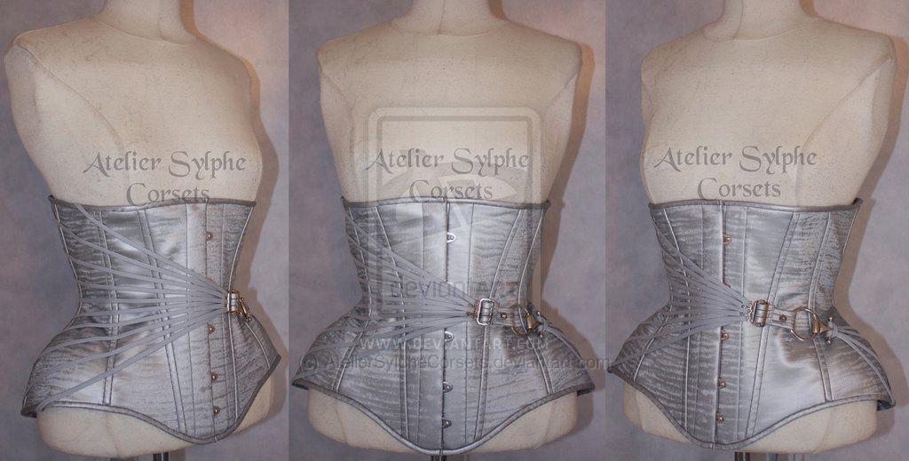d3ac226742 Silver steel fan lacing underbust by Atelier Sylphe Corsets ...