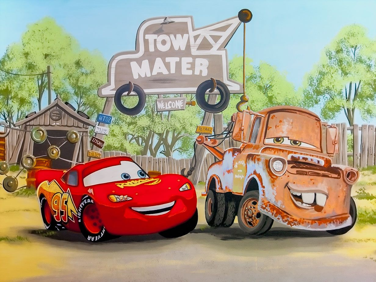Boyu0027s Room Mural With Cars McQueen, Mater, Buzz Lightyear, Fireman Sam And  Thomas The Tank Part 67