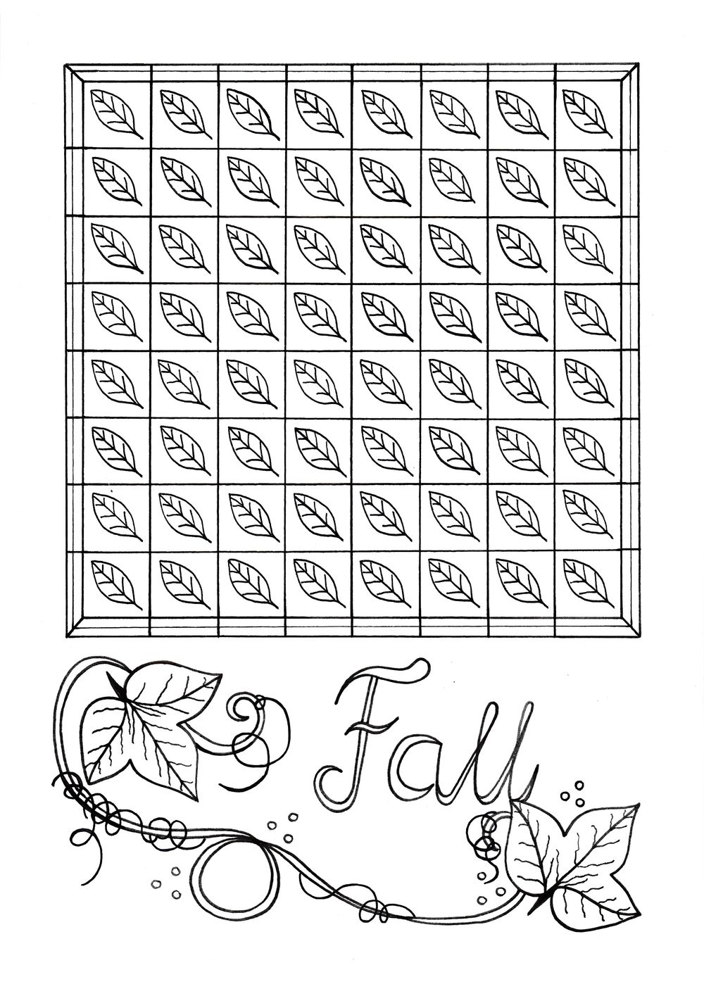 Mindless Fall Leaves Adult Coloring Page | Adult coloring, Fall ...