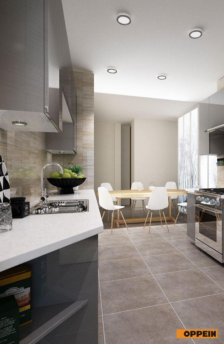 Modern Light Grey High Gloss Acrylic Kitchen Cabinet ...