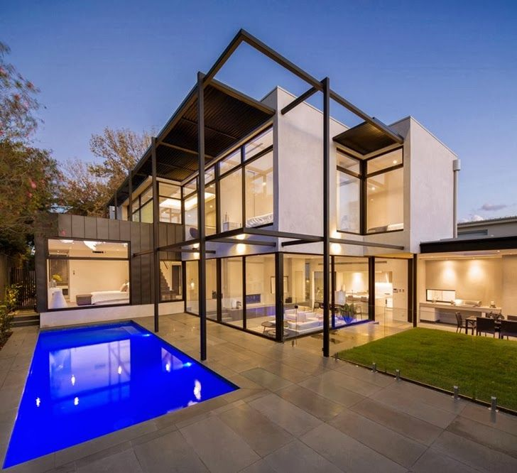 Rear elevation of Contemporary Style Home by Domoney Architecture ...