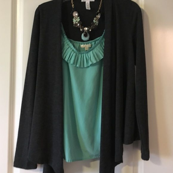 Bundle Gray Sweater Mint Green Ruffle Top Gray Medium Sweater Mint Green Large Ruffle Top - necklace not included Tops