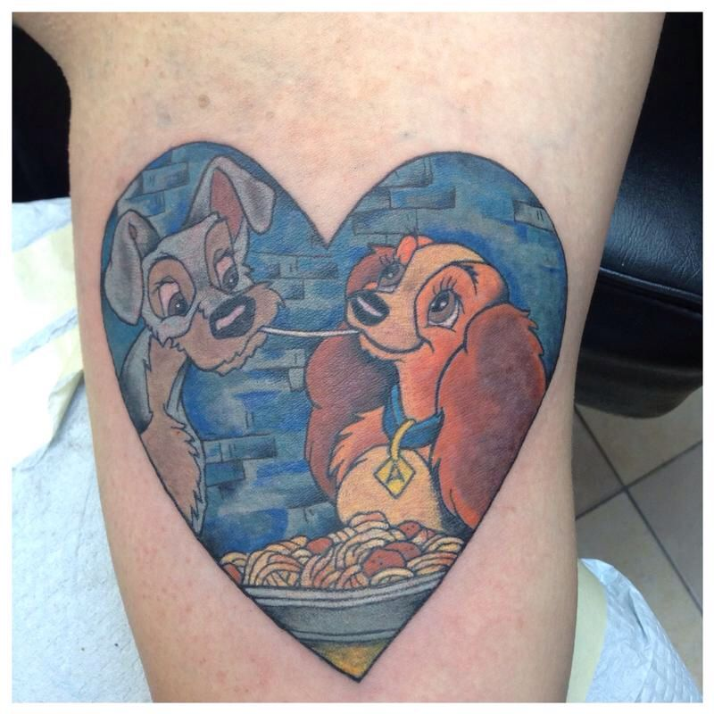 f10d44224 Lady and the tramp Disney tattoo Disney Couple Tattoos, Cute Couple Tattoos,  Disney Couples