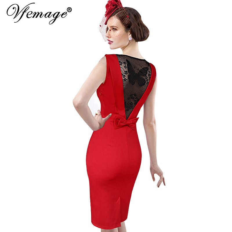49d6f2cf669 Vfemage Women Sexy Elegant See Through Back Bow Butterfly Lace Party  Evening Special Occasion Pencil Vestidos Bodycon Dress 4077