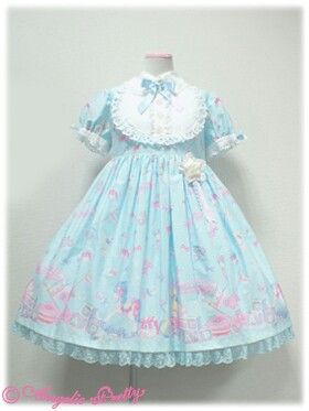 Dreamy Baby Room OP in Pink, Blue, or Yellow or JSK in White by Angelic Pretty