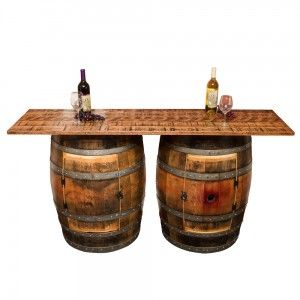 Double Half Barrel Bar Saves Space And Looks Great Wine Barrel Furniture Barrel Furniture Pub Table