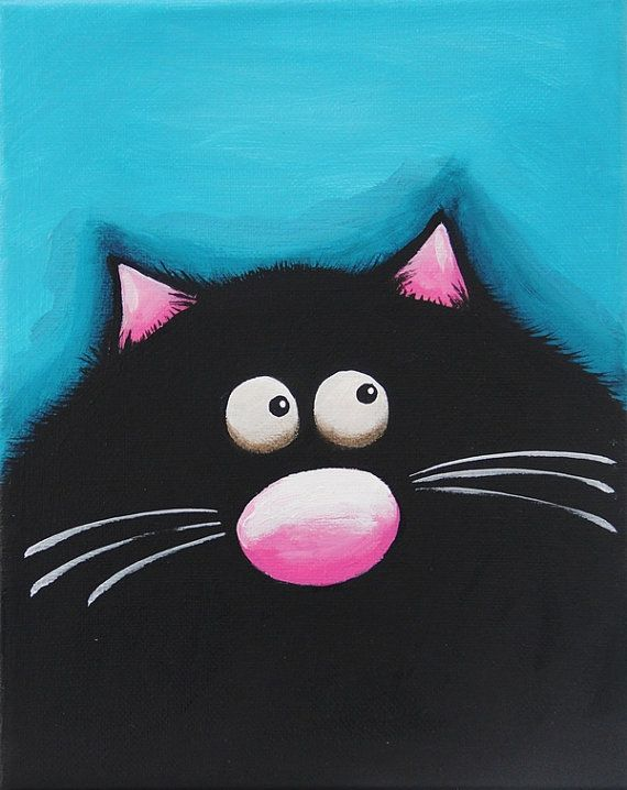 Fat Cat Art 3 by stressiecat on Etsy