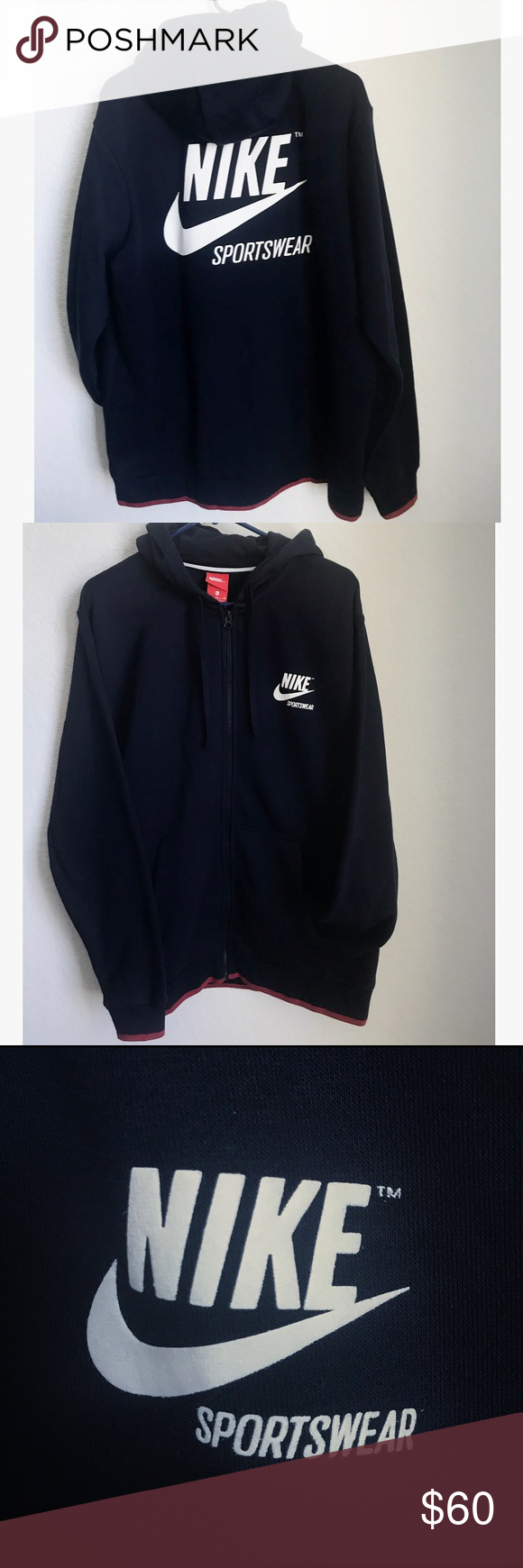 release date 2504d 2eed7 Nike Sportswear Hoodie Nike Sportswear Full Zip Hoodie. Color is Navy Blue.  Brand New With No Tags Nike Shirts Sweatshirts   Hoodies
