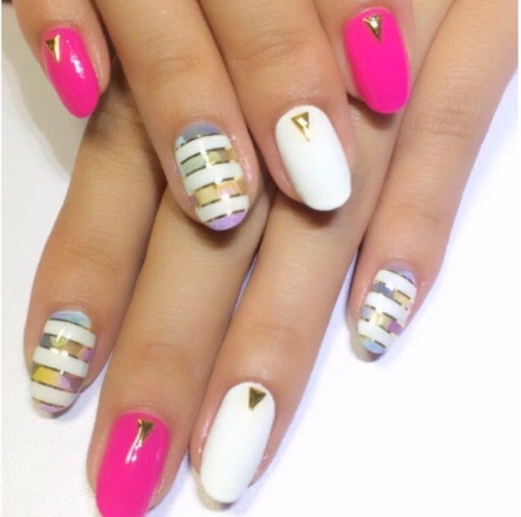 #My nails #pink #white #flower #border #watermark