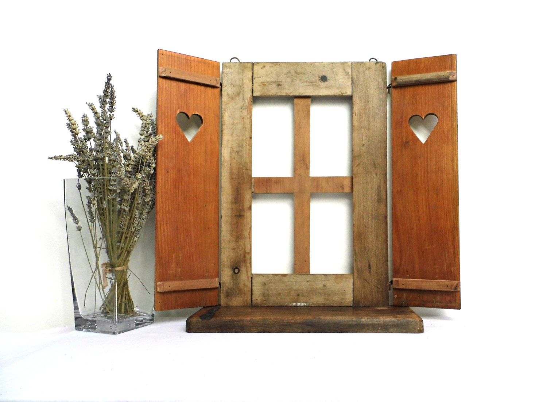 Decorative Display Cases Vintage Old Window Shutter Shelf Rustic Wood Wall Frame Antique