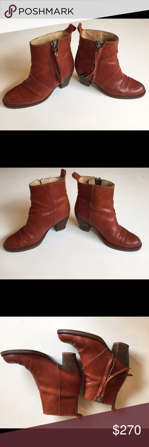 """Acne Pistol Boots Cinnamon leather Acne round-toe Pistol ankle boots with tonal stitching throughout, stacked block heels and zip closures at sides. Color: Brown Shoe Size: 6 Condition: Very Good. Resoled; light scuffing at outer soles; minor blemishes at leather; light wear at insoles. Measurements: Heels 3"""" Designer: Acne Acne Shoes Ankle Boots & Booties"""
