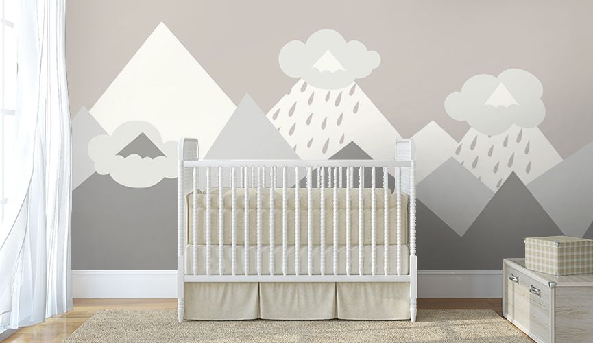 Icy Mountains Wallmurals Wallpaper Nursery Babyroom Pastel