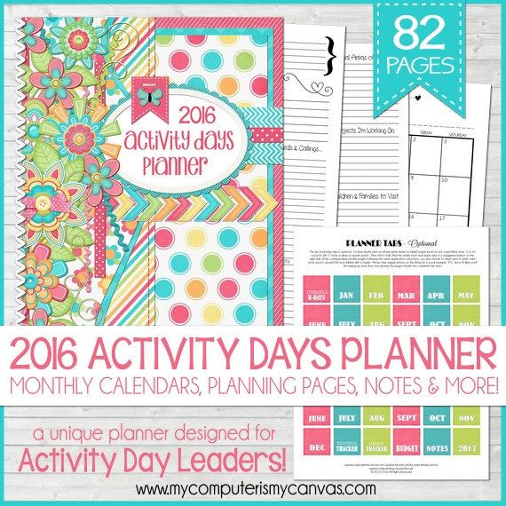 2016 LDS Activity Days Planner Organizer, Printable for LDS ...