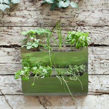 Rectangle Metal Wall Mounted Cedar Herb Garden Planter Modern Indoor