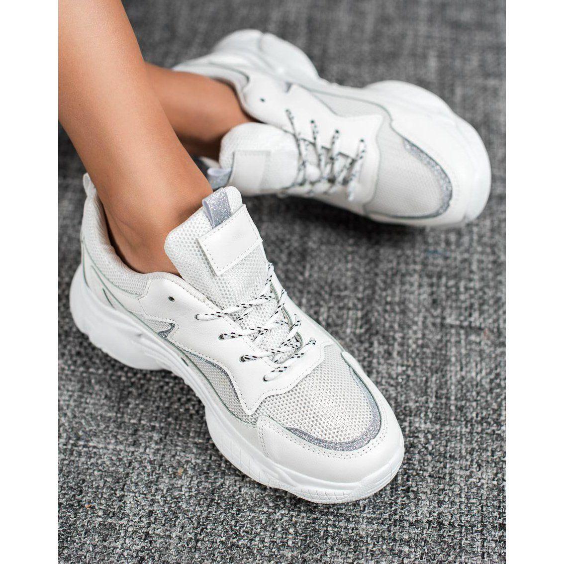 Shelovet Classic Sport Shoes White Plastic Heels Sports Footwear Sport Shoes