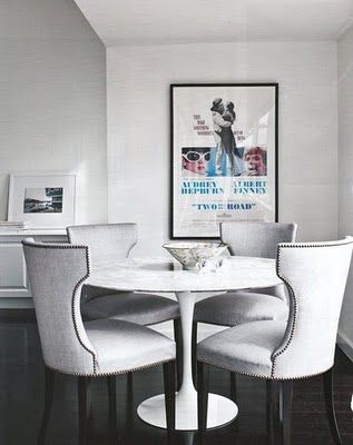 Good Tulip Tables With Traditional Upholstered Chairs And Nailhead Trim
