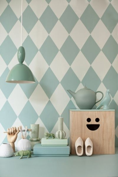 Harlequin Wallpaper and Plywood Box by ferm LIVING Galleri - Linda Åhman Interior Designer