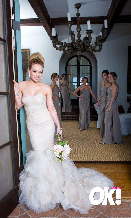 Hilary Duff In Her Wedding Gown Hilary Duff Skinny Vs Curvy Hilary Duff Wedding Dress Wedding Dresses Celebrity Weddings