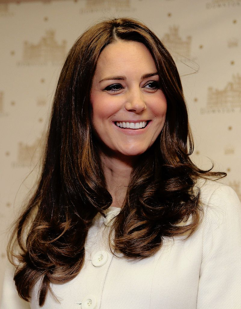 Catherine, Duchess of Cambridge smiles during an official visit to the set of Downton Abbey at Ealing Studios on March 12, 2015 in London, England.